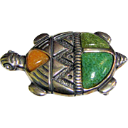 Vintage Carolyn Pollack Turtle Pin Pendant in Sterling