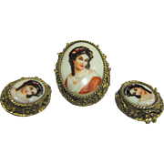 Gorgeous Signed French Limoges Portrait Pin & Earring Suite, Lady in Red