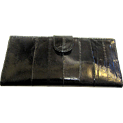 Black Eel Skin Checkbook, Cash & Credit Card Wallet, Excellent Condition