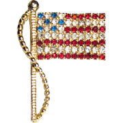 Vintage American Flag Prong Set Rhinestone Brooch by Rafaelian