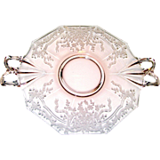 "Pink Depression Glass 10"" Handled Server, June Bow by Fostoria"