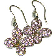 Vintage Sterling Silver & Pink Rhinestone Butterfly Dangle Earrings