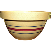 "Robinson Ransbottom Pottery Mixing Bowl Yellow Ware Large Red Band w/ Two Blue Bands 9"" Made in USA, Near Mint"