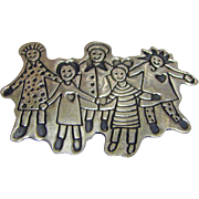 Large Vintage EFS Save the Children Sterling Silver Hold Hands Brooch