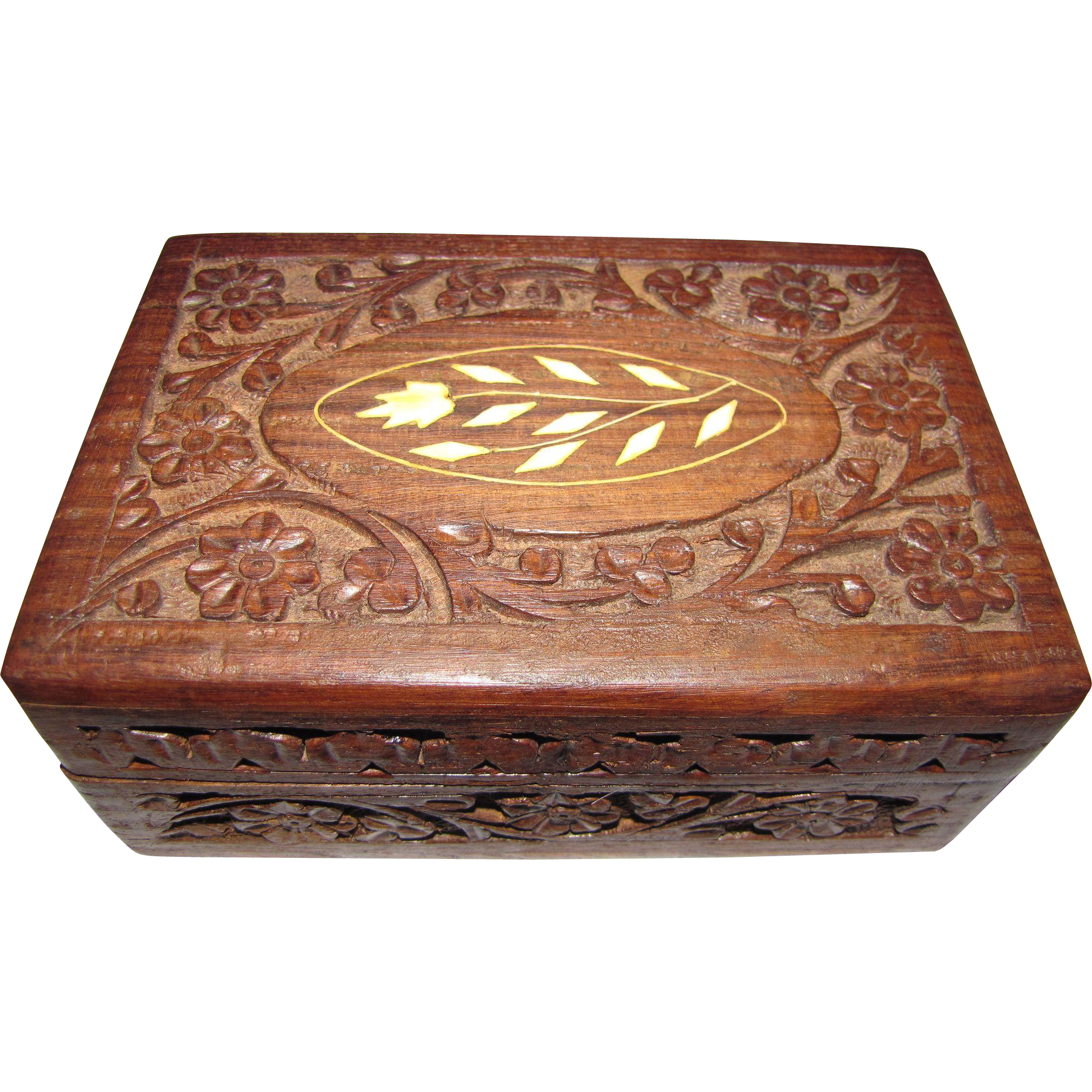 Hand Carved Indian Wooden Jewelry Box With Bone Inlay From