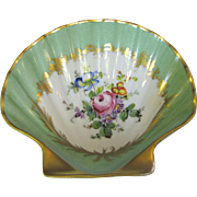 Beautiful Hand Painted French Limoges Shell Trinket Dish