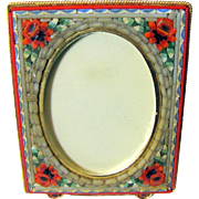 Vintage Rose Design Italian Micro Mosaic Oblong Frame