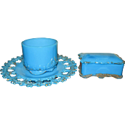 Lovely Antique Delphite Blue Milk Glass Vanity or Dresser Set