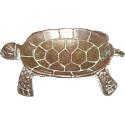 Vintage Solid Brass Turtle Jewelry Dish, Andrea by Sadak