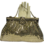 Vintage Whiting & Davis Co. Evening Purse Clutch, Silver Mesh & Rhinestone Clasp in Original Box, Like New