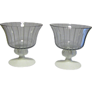 Mid Century Modern Pair Vintage Johansfors Clear Blown Glass Champagne / Sherbet (Dessert or Ice Cream) w/ White Stripes, Designed by Bengt Orup of Sweden, Superb Scandinavian Art Glass