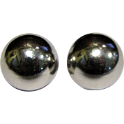 "Classic Shiny Silvertone 3/4"" Half Dome Pierced Earrings"