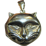 """Vintage Smiling """"Cheshire"""" Cat Sterling Silver Locket, 6 Grams"""