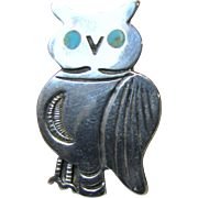 Small Sterling Owl Pin w/ Turquoise Eyes, 7 Grams