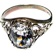 Sparkling CZ Ring with Romantic Filigree Sterling Setting, Size 8, 4 Grams