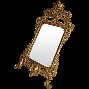 Harris, Ornate Baroque Revival Victorian Gilt Cast Iron Wall Mirror