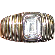 Modernist Sterling Silver Ribbed Design Ring w/ Emerald Cut Stone, Size 8, 7 Grams
