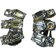 Signed Coro Rhineston Fan Clip Earrings, Bridal!