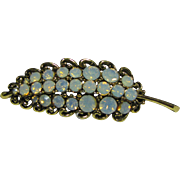 Beautiful Signed Hollycraft Leaf Pin with Opaline Rhinestones