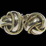 Classic Sterling Silver & Vermeil Infinity Knot Pierced Earrings, 4 Grams