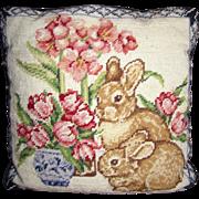 Harris, Adorable Bunny Rabbit Wool Needlepoint Pillow