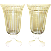 Mid Century Modern Pair Vintage Johansfors Clear Blown Glass White Stem Water Goblet w/ White Stripes, Designed by Bengt Orup of Sweden, Superb Scandinavian Art Glass