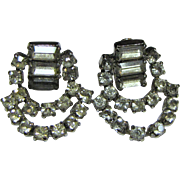 Unsigned 60's Rhinestone Swag Earrings, Clip Backs, Bridal