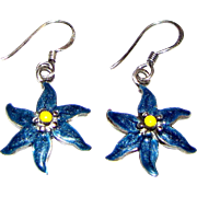 Dainty Norwegian Sterling Enamel Flower Earrings