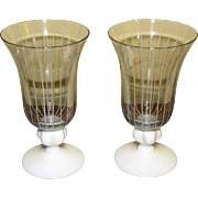 Mid Century Modern Pair Vintage Johansfors Clear Blown Glass Cordial Glasses w/ White Stripes, Designed by Bengt Orup of Sweden, Superb Scandinavian Art Glass