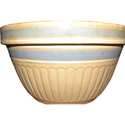"Antique White & Blue Band Striped Yellow Ware  Serving Bowl Stoneware Country 9"" Made in the USA, Near Mint"