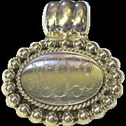 MDB Monogrammed Sterling Silver Slide Pendant, 16 Grams