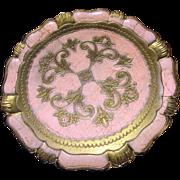 Harris, Mid Century Florentine Tray, Elegant Shell Pink