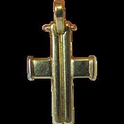 18k Gold Cross Charm or Petite Pendant, 3 Grams