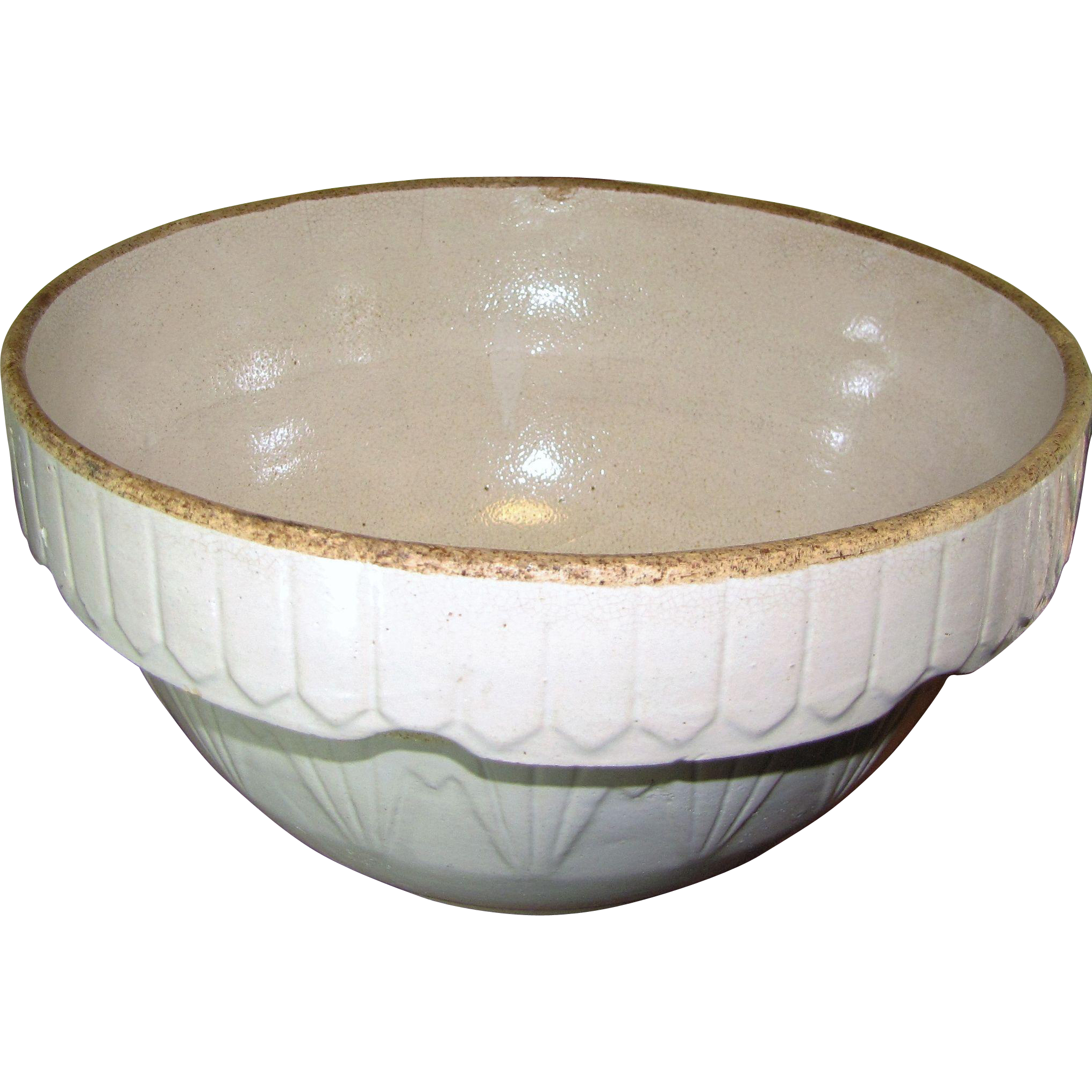 Antique Yellowware stoneware Mixing Bowl no. 8