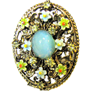 Beautiful Signed ART Enamel, Moonglow & Rhinestone Scarf Ring