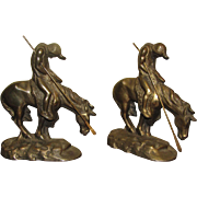 "Bronze Patinated Cast Iron Bookends ""End of Trail"" Native American Indian on Horseback with Lance"