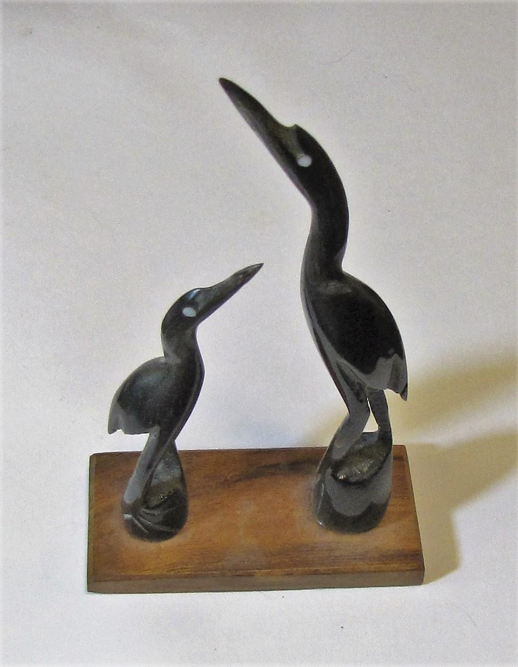 Harris vintage hand carved water buffalo horn heron
