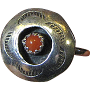 Petite Navajo Coral & Sterling Shadowbox Ring, Size 6 1/4
