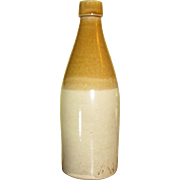 19th Century Tan & Cream Stoneware Pottery Beer or Ale Bottle