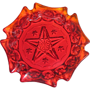 Ruby Red Moon and Star L. G. Wright 6 Sided Ashtray, 5 point star, in Excellent Condition
