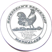 Haversham's Breakfast Marmalade Jar, Rooster Lid, Ceramic Porcelain