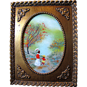 Harris, Enamel on Copper Painting, Walk in the Woods by Listed Artist Jean Lucey