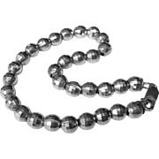 Modernist Sterling Silver Faceted Bead Bracelet, 12 Grams