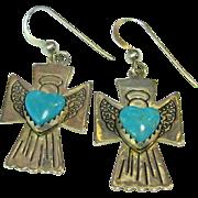 Carolyn Pollack Sterling & Blue Turquoise Angel Pierced Earrings