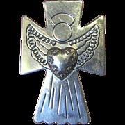 Carolyn Pollack Relios Sterling Silver Angel Cross Heart Pin Pendant
