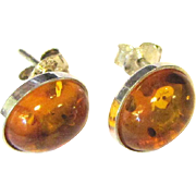 Pretty Pair of Sterling & Amber Stud Earrings