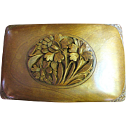 Hand Carved Walnut Black Forest 1930's Cigarette Box - Red Tag Sale Item