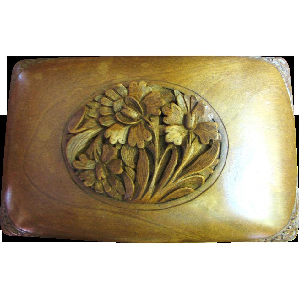 Hand Carved Walnut Black Forest 1930's Cigarette Box