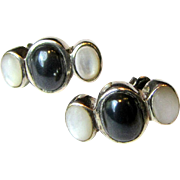 Pretty Mother of Pearl & Hematite Steling Stud Earrings