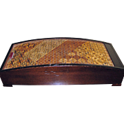 Elegant Japanese Mid Century Wooden Roll Top Cigarette / Trinket Box